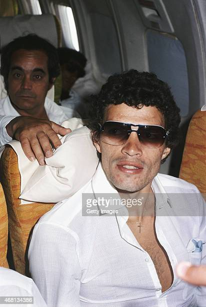 Brazil captain Socrates looks on during a flight during the Copa de Ora tournament held in Uruguay in January 1981