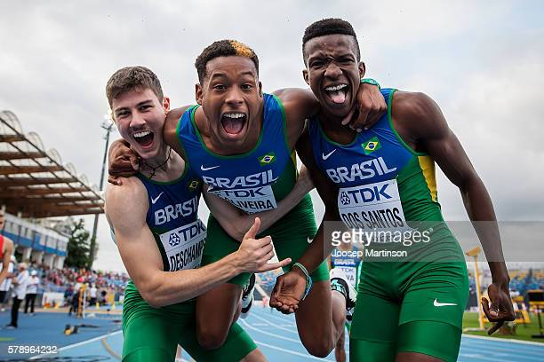 Brazil celebrate after men's 4 x 100 Metres Relay during the IAAF World U20 Championships at the Zawisza Stadium on July 22 2016 in Bydgoszcz Poland