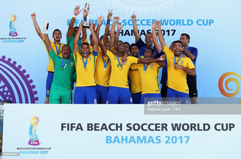 Brazil celebrate their win against Tahiti in the FIFA Beach Soccer World Cup Bahamas 2017 final between Tahiti and Brazil at National Beach Soccer Arena at Malcolm Park on May 7, 2017 in Nassau, Bahamas.