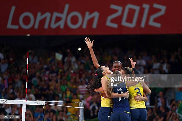 Brazil celebrates after defeating the United States to win the Women's Volleyball gold medal match on Day 15 of the London 2012 Olympic Games at...