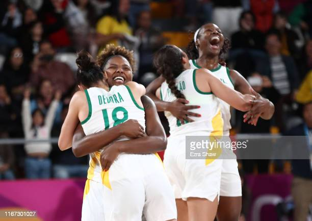 Brazil celebrates after they defeated the United States in their gold medal women's basketball game on Day 15 of Lima 2019 Pan American Games at...