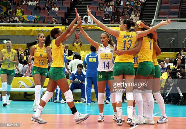 Brazil Celebrates During The Match Against Germany At 2006 Volleyball World Championships In Osaka Japan