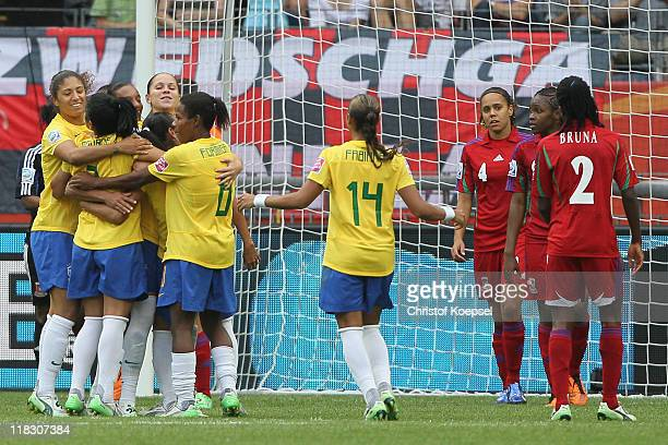 Brazil celebrates the first goal of Erika of Brazil during the FIFA Women's World Cup 2011 Group D match between Equatorial Guinea and Brazil at FIFA...