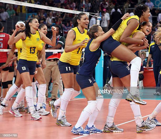 Brazil celebrates the match win over Japan during the Women's Volleyball semifinal match on Day 13 of the London 2012 Olympics Games at Earls Court...