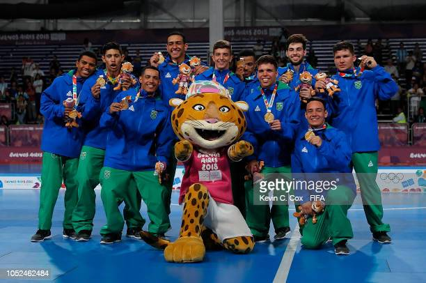 Brazil celebrates their 41 win over Russia in the Men's Futsal Final match between Brazil and Russia during the Buenos Aires Youth Olympics 2018 at...
