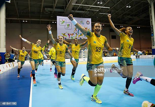 Brazil celebrates winning the Gold Medal after the Women's Handball Final at the Pan Am Games on July 24, 2015 in Toronto, Canada.