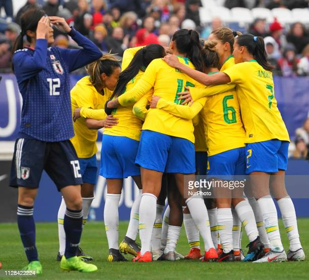 Brazil celebration after Debinha of Brazil goal during the SheBelieves Cup match between Brazil and Japan at Nissan Stadium on March 2 2019 in...