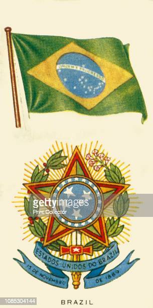 Brazil' circa 1935 From 'An Album of National Flags and Arms' [John Player Sons circa 1935] The coat of arms shows central emblem with coffee and...