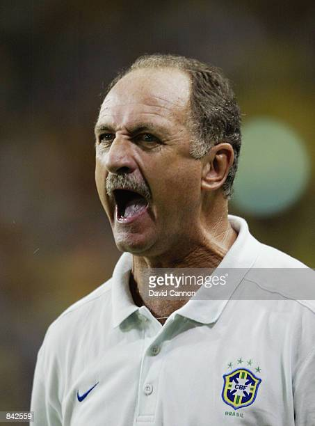 Brazil coach Luis Felipe Scolari loses his cool during the FIFA World Cup Finals 2002 Second Round match between Brazil and Belgium played at the...