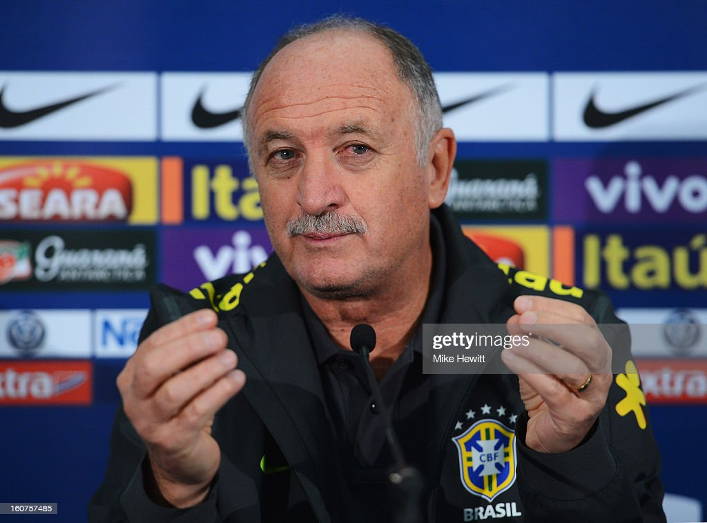 Brazil coach Luiz Felipe Scolari faces the media during a Brazil Press Conference at Wembley Stadium on February 5, 2013 in Wembley, England.