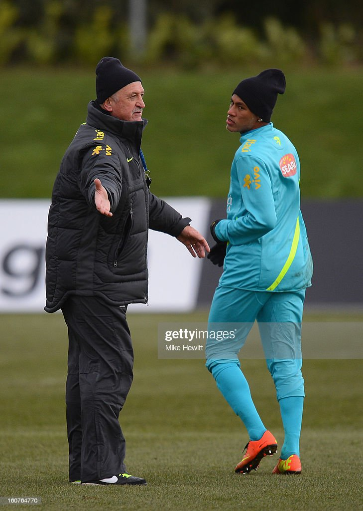 Brazil coach Luiz Felipe Scolari gives instructions to rising star Neymar during a Brazil Training and Press Conference at The Hive football centre on February 5, 2013 in London, England.