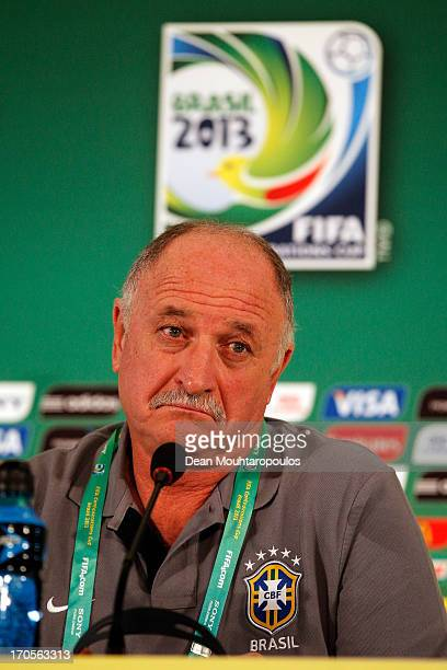 Brazil Coach Luiz Felipe Scolari speaks to the media prior to the Brazil Training Session during the FIFA Confederations Cup 2013 at Estadio Nacional...