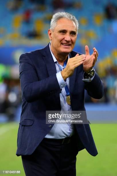 Brazil coach Tite applauds the supporters following the Copa America Brazil 2019 Final match between Brazil and Peru at Maracana Stadium on July 07,...