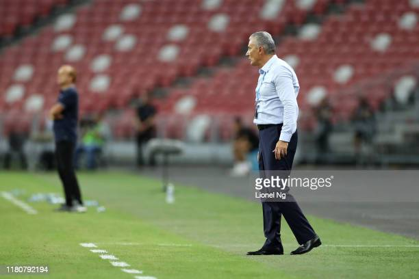Brazil coach Tite during the international friendly match between Brazil and Nigeria at the Singapore National Stadium on October 13, 2019 in...