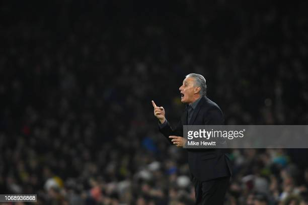 Brazil coach Tite issues instructions during the International Friendly between Brazil and Uruguay at Emirates Stadium on November 16 2018 in London...