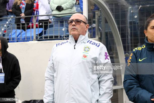 Brazil coach Vadao during the SheBelieves Cup match between Brazil and Japan at Nissan Stadium on March 2nd 2019 in Nashville Tennessee