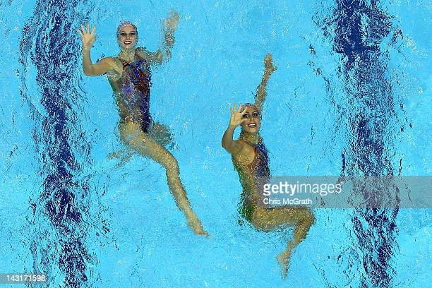 Brazil compete in the Duets Free Routine during the FINA Olympic Games Synchronised Swimming Qualification event at the London Aquatics Centre on...