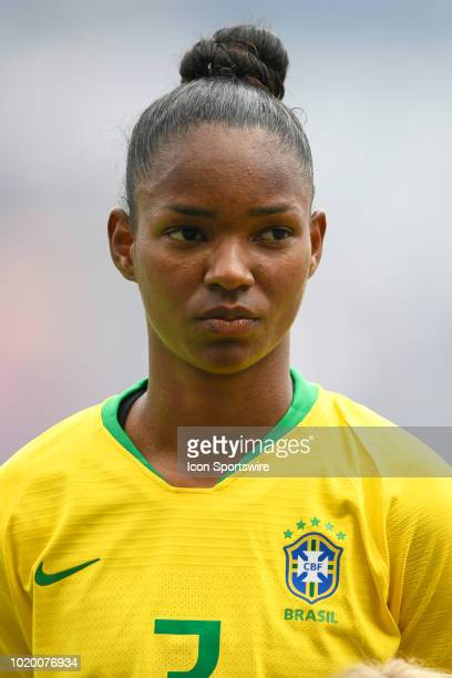 Brazil defender Daiane looks on during the national anthem prior to the start of game action during a Tournament of Nations match between Brazil vs...