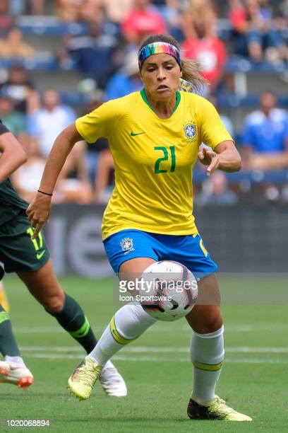 Brazil defender Monica dribbles the ball in game action during a Tournament of Nations match between Brazil vs Australia on July 26 2018 at...