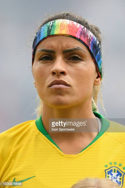 Brazil defender Monica looks on during the national anthem prior to the start of game action during a Tournament of Nations match between Brazil vs...