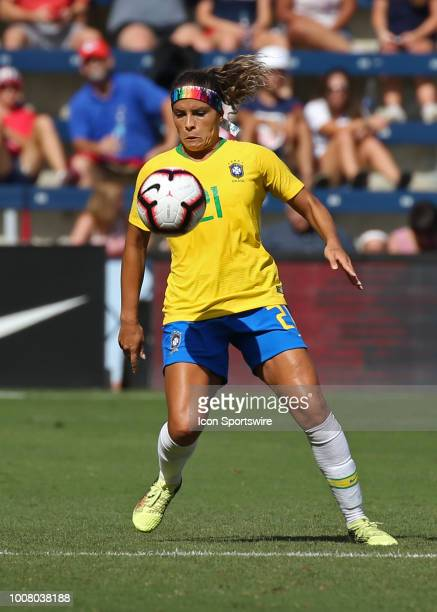 Brazil defender Monica looks to control the ball in the second half of a women's soccer match between Brazil and Australia in the 2018 Tournament of...