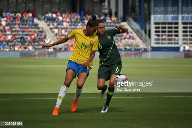 Brazil defender Poliana and Australian midfielder Chloe Logarzo fight for a ball in the second half of a women's soccer match between Brazil and...