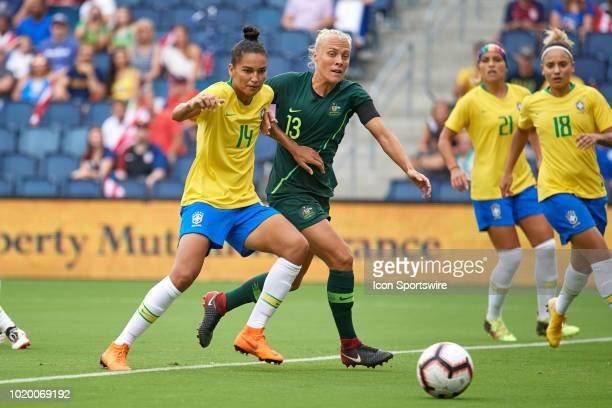 Brazil defender Poliana battles with Australia midfielder Tameka Butt in game action during a Tournament of Nations match between Brazil vs Australia...