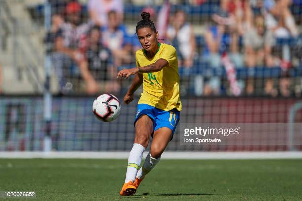Brazil defender Poliana kicks the ball in game action during a Tournament of Nations match between Brazil vs Australia on July 26 2018 at Children's...
