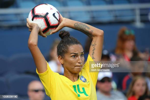 Brazil defender Poliana takes a throwin in the second half of a women's soccer match between Brazil and Australia in the 2018 Tournament of Nations...