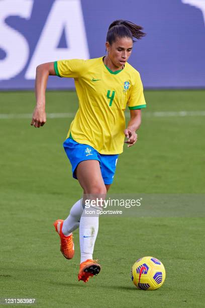 Brazil defender Rafaelle dribbles the ball in action during a SheBelieves Cup game between Brazil and the United States on February 21, 2021 at...