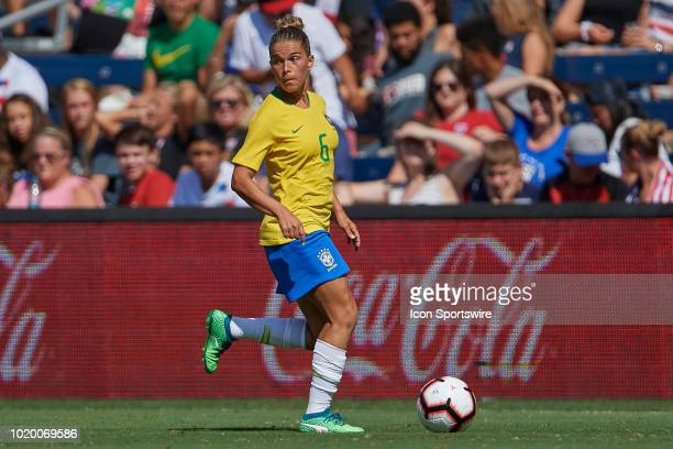 Brazil defender Tamires dribbles the ball in game action during a Tournament of Nations match between Brazil vs Australia on July 26 2018 at...