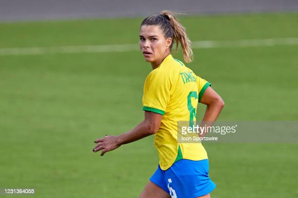 Brazil defender Tamires looks on in action during a SheBelieves Cup game between Brazil and the United States on February 21, 2021 at Exploria...