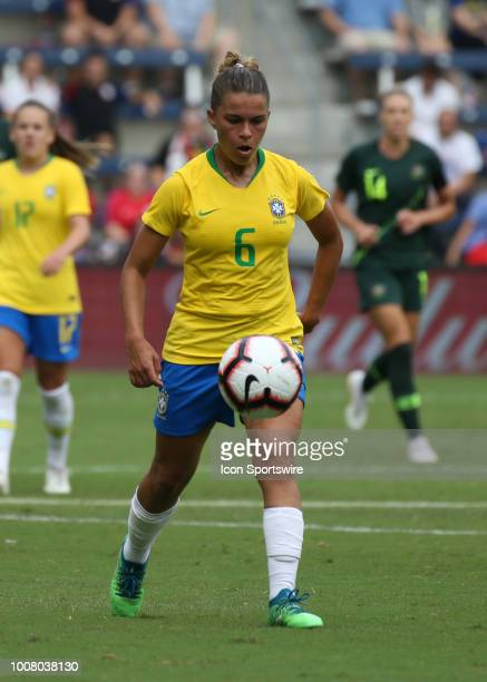 Brazil defender Tamires pursues the ball in the first half of a women's soccer match between Brazil and Australia in the 2018 Tournament of Nations...