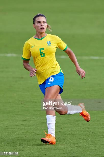 Brazil defender Tamires runs in action during a SheBelieves Cup game between Brazil and the United States on February 21, 2021 at Exploria Stadium in...