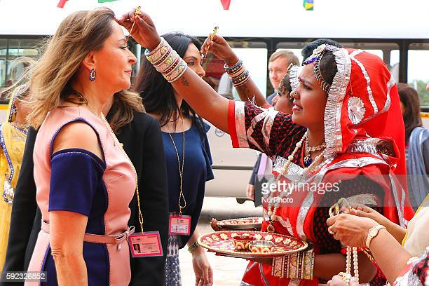 Brazil delegation being welcomed as she arrive to attend BRICS 2016 Women Parliamentarians Meeting at Rajasthan Assembly in Jaipur Rajasthan India 20...