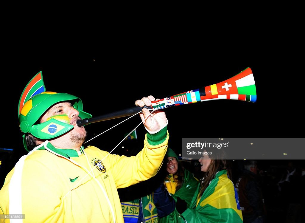 A Brazil fan arrives for the 2010 FIFA World Cup Group G match between Brazil and North Korea at Ellis Park Stadium on June 15, 2010 in Johannesburg, South Africa.