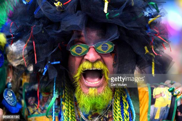 Brazil fan celebrates following his sides victory in the 2018 FIFA World Cup Russia Round of 16 match between Brazil and Mexico at Samara Arena on...