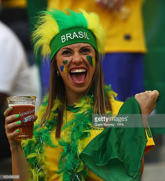 Brazil fan enjoys the atmosphere during the 2010 FIFA World Cup South Africa Group G match between Portugal and Brazil at Durban Stadium on June 25...