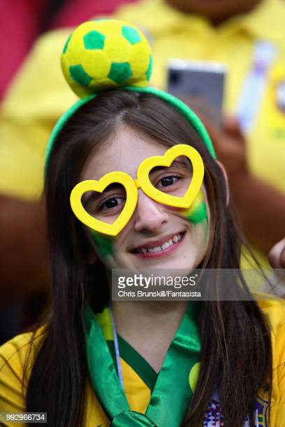 Brazil fan enjoys the atmosphere in the ground before the 2018 FIFA World Cup Russia Quarter Final match between Brazil and Belgium at Kazan Arena on...