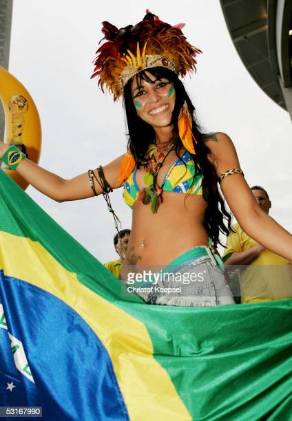 Brazil fan enjoys the atmosphere prior to the FIFA 2005 Confederations Cup Final between Brazil and Argentina at the Waldstadion on June 29 in...