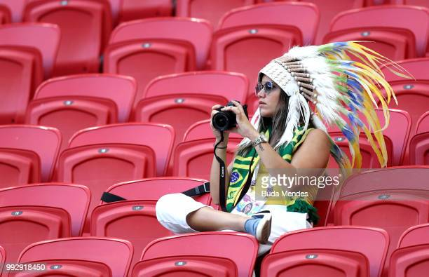 Brazil fan enjoys the pre match atmosphere during the 2018 FIFA World Cup Russia Quarter Final match between Brazil and Belgium at Kazan Arena on...