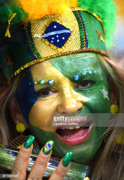 Brazil fan enjoys the pre match atmosphere prior to the 2018 FIFA World Cup Russia group E match between Brazil and Switzerland at Rostov Arena on...