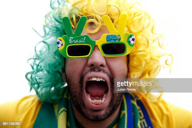 Brazil fan enjoys the pre match atmosphere prior to the 2018 FIFA World Cup Russia group E match between Brazil and Costa Rica at Saint Petersburg...