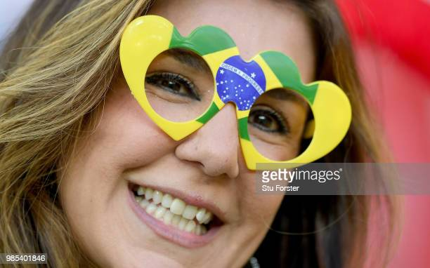 Brazil fan enjoys the pre match atmosphere prior to the 2018 FIFA World Cup Russia group E match between Serbia and Brazil at Spartak Stadium on June...