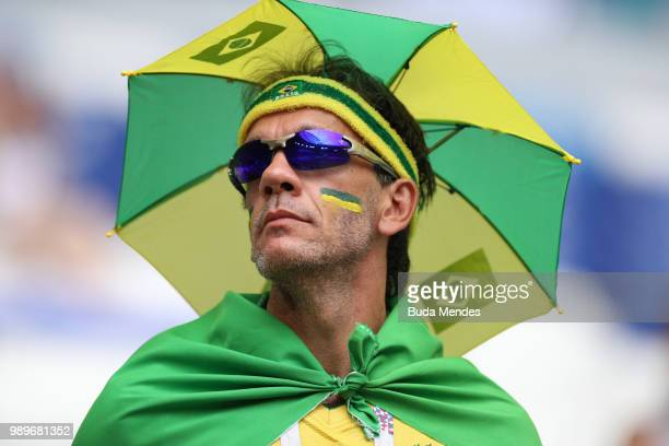 Brazil fan enjoys the pre match atmosphere prior to the 2018 FIFA World Cup Russia Round of 16 match between Brazil and Mexico at Samara Arena on...