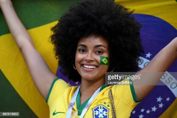Brazil fan enjoys the pre match atmosphere prior to the 2018 FIFA World Cup Russia Quarter Final match between Brazil and Belgium at Kazan Arena on...