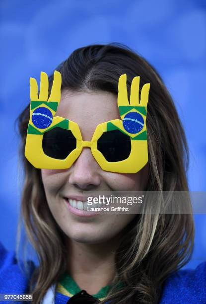 Brazil fan fan enjoys the pre match atmosphere prior to the 2018 FIFA World Cup Russia group E match between Brazil and Switzerland at Rostov Arena...
