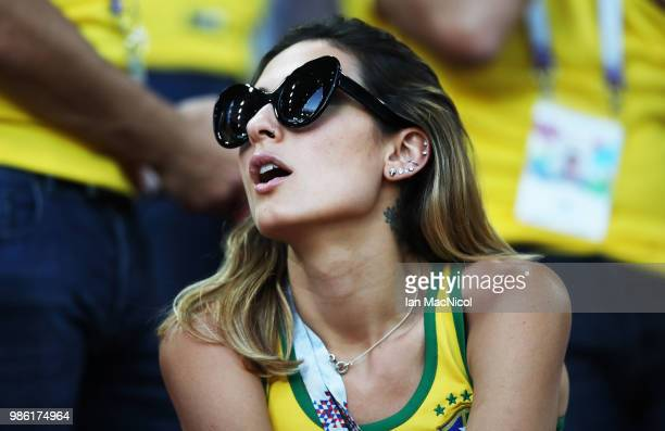 Brazil fan is seen during the 2018 FIFA World Cup Russia group E match between Serbia and Brazil at Spartak Stadium on June 27 2018 in Moscow Russia