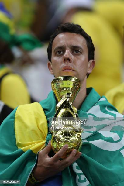 Brazil fan looks dejected following his sides defeat in the 2018 FIFA World Cup Russia Quarter Final match between Brazil and Belgium at Kazan Arena...