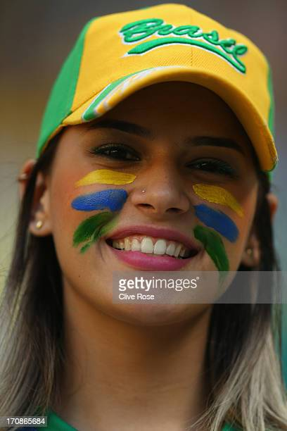 Brazil fan looks on prior to the FIFA Confederations Cup Brazil 2013 Group A match between Brazil and Mexico at Castelao on June 19 2013 in Fortaleza...